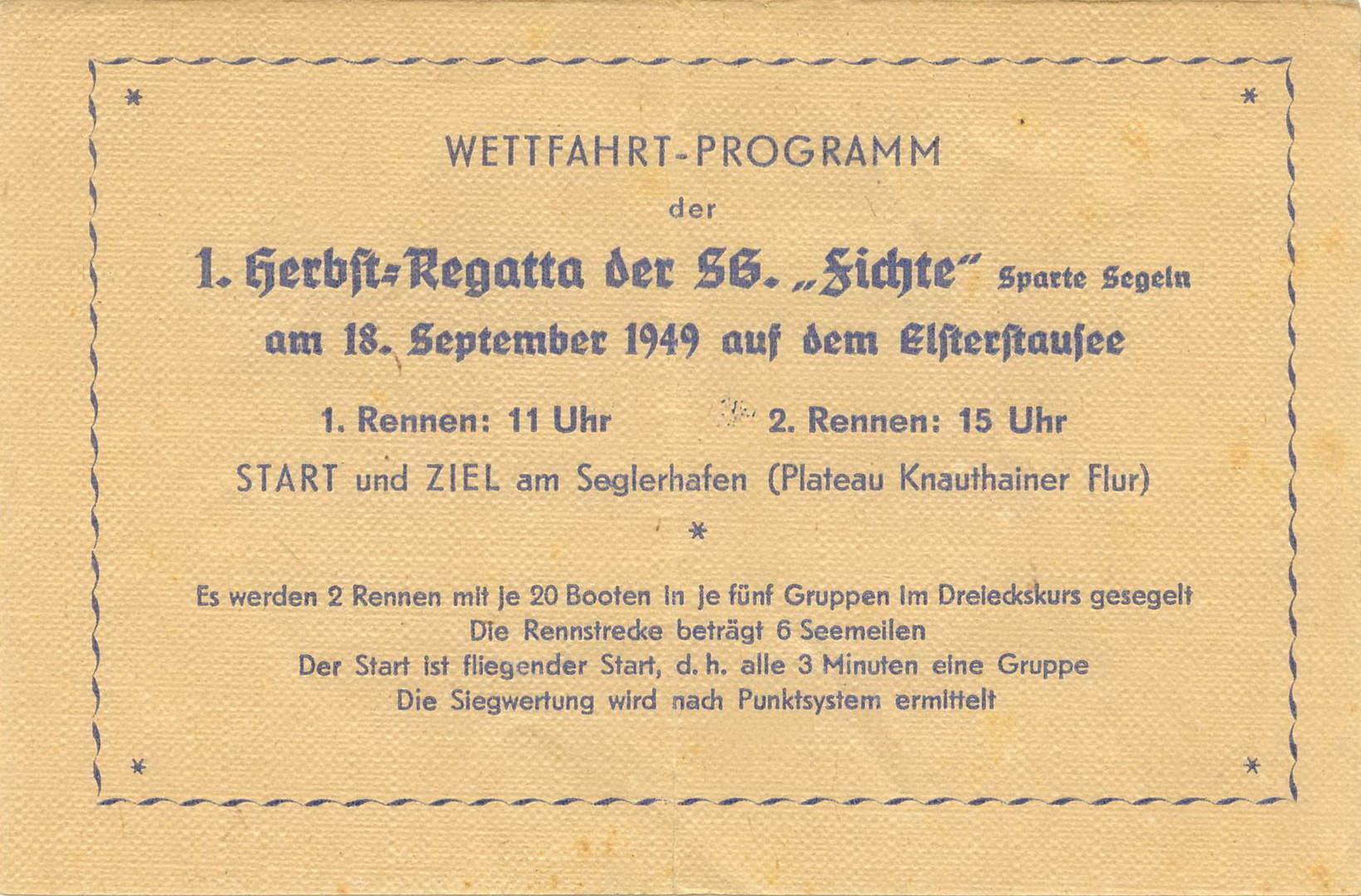 1. Herbstregatta Elsterstausee 1949